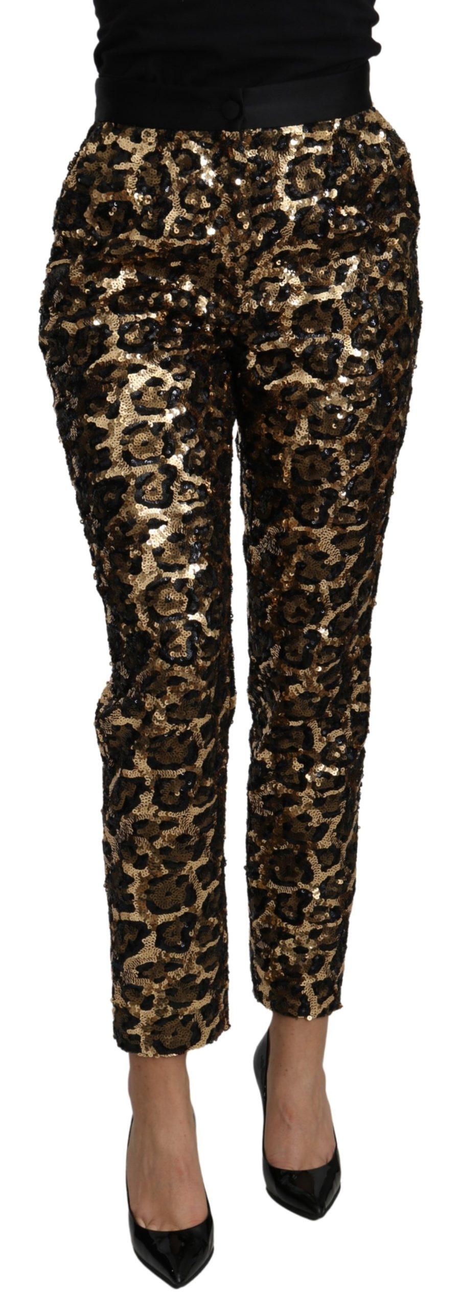 Dolce & Gabbana Women's Leopard High Waist Trouser Gold PAN71089 - IT40 S