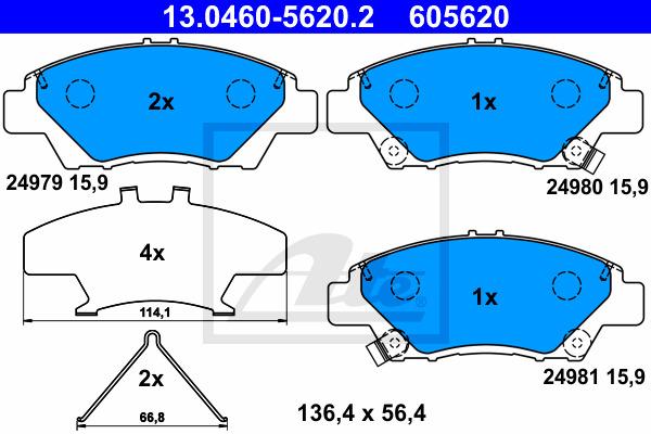 Jarrupalasarja, levyjarru ATE 13.0460-5620.2