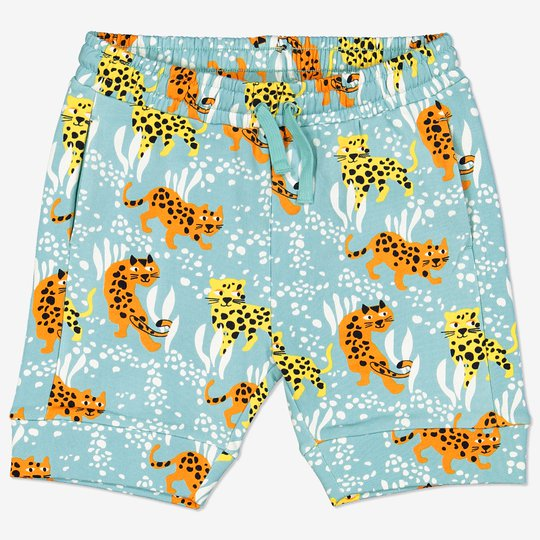Shorts med leopardtrykk turkis