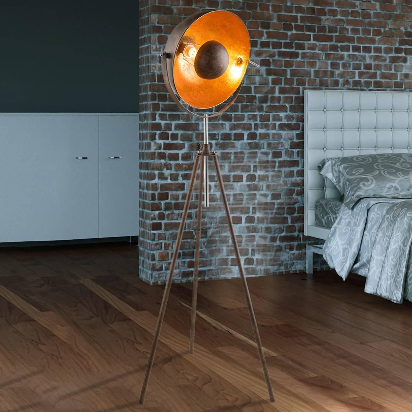 Rustfarget trebenet gulvlampe Xirena I