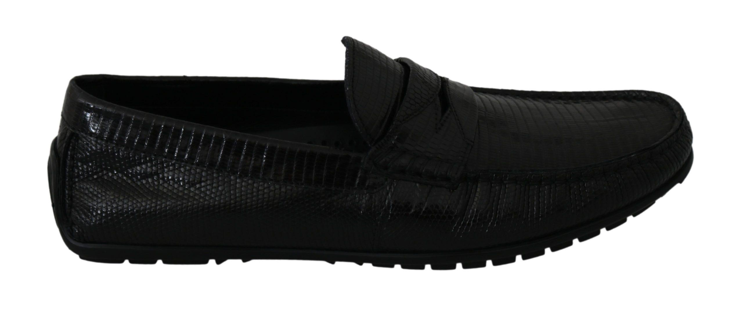 Black Lizard Leather Flat Loafers Shoes - EU39/US6
