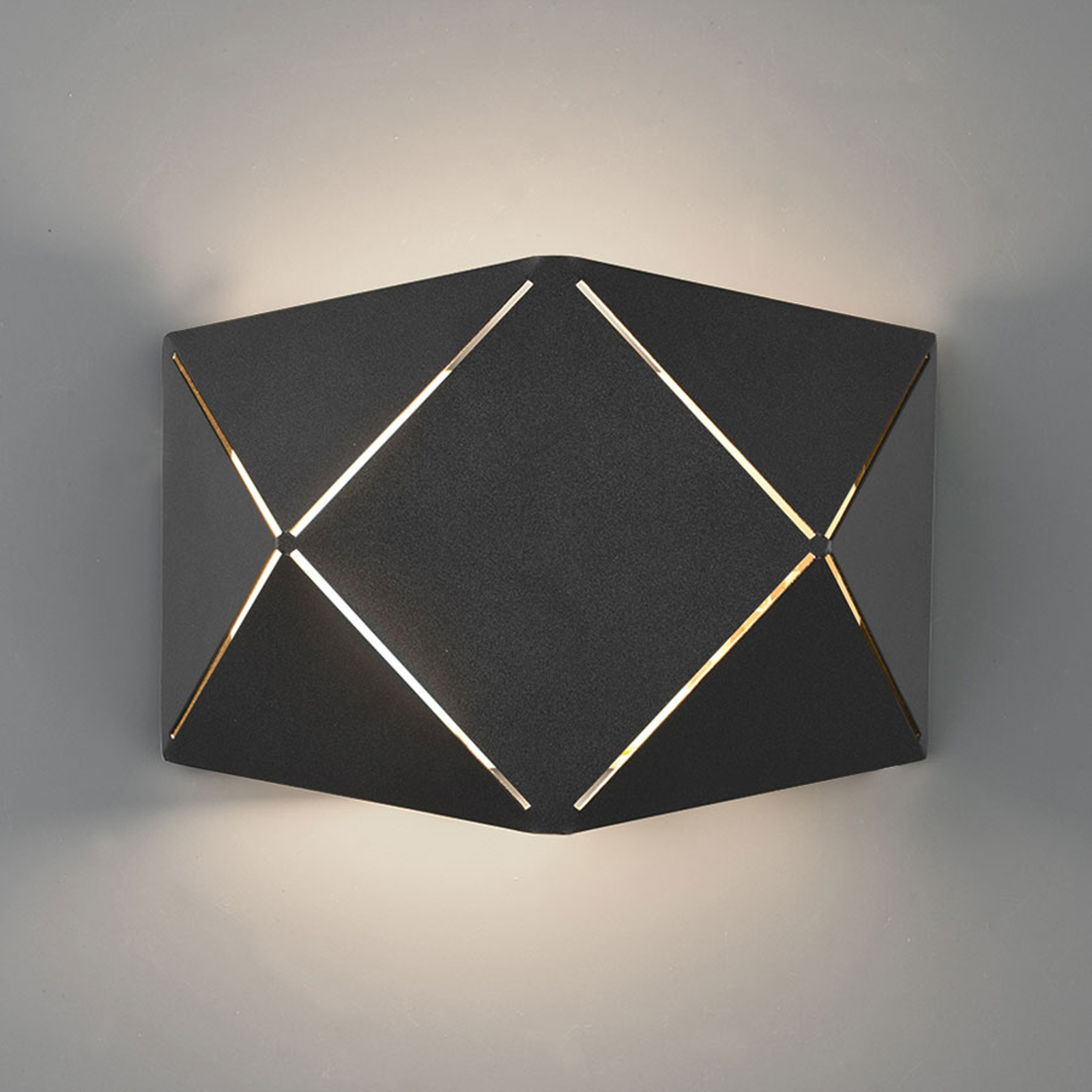 LED-seinävalaisin Zandor, musta, leveys 18 cm