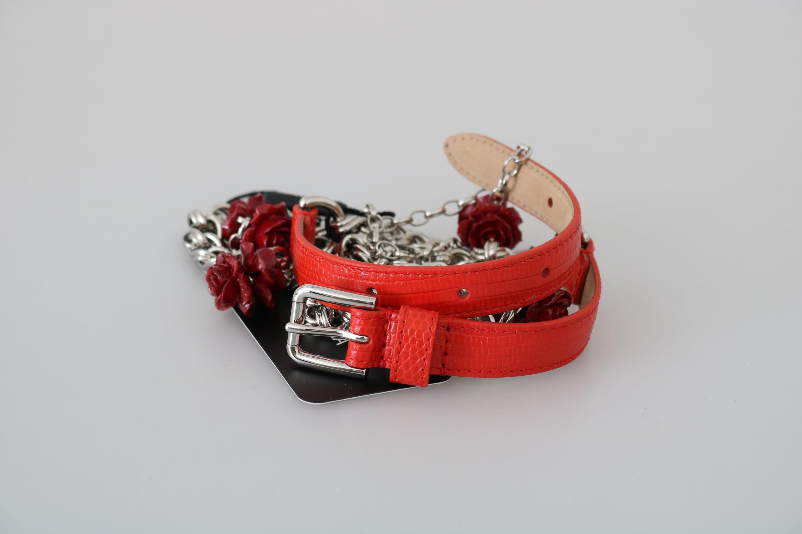 Dolce & Gabbana Women's Chain Flower Roses Belt Orange BEL60424 - 75 cm / 30 Inches