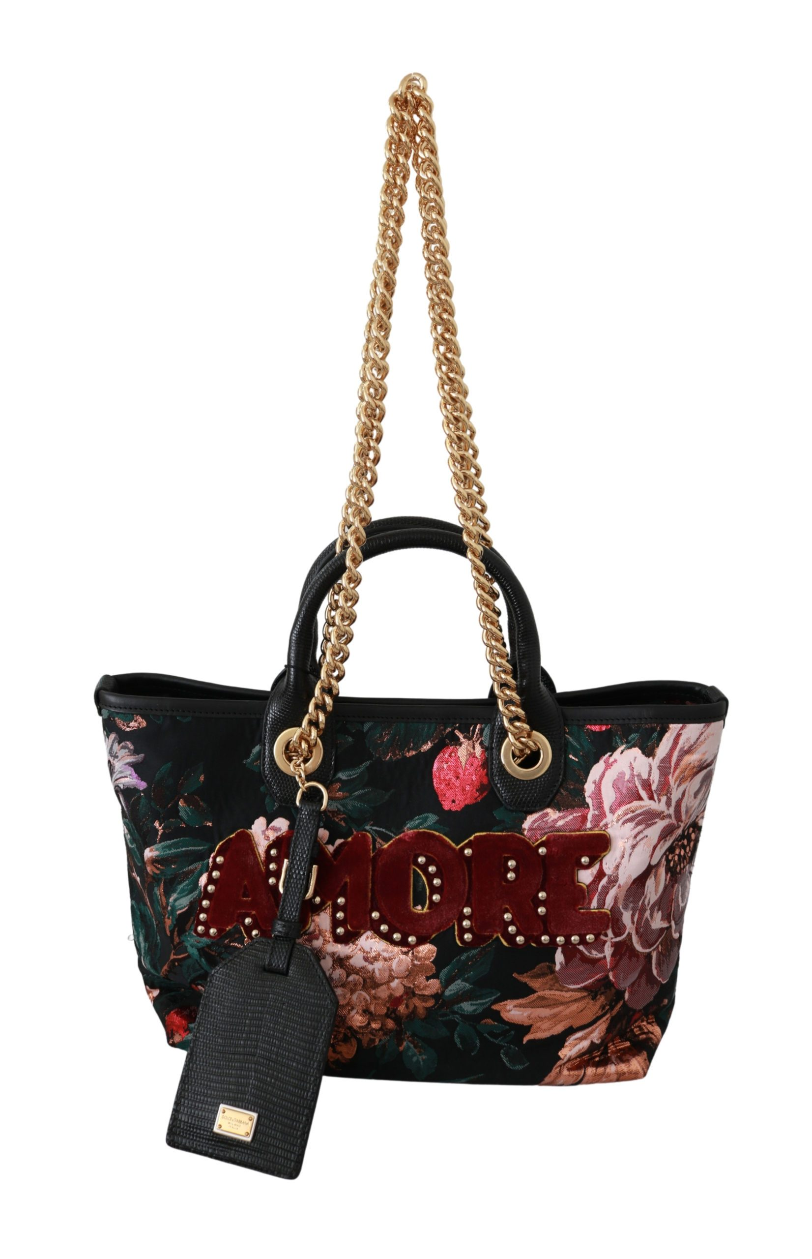 Dolce & Gabbana Women's Floral Amore VAS9225 Patch Tote CAPRI Bag Black