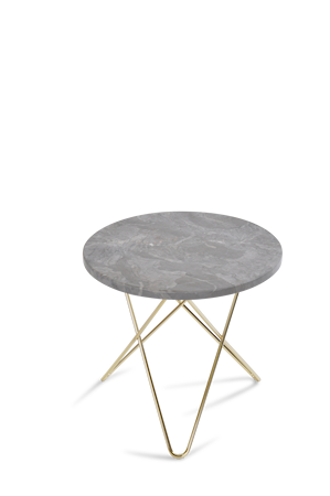 Mini O Table Grå Marmor med Messingramme Ø40