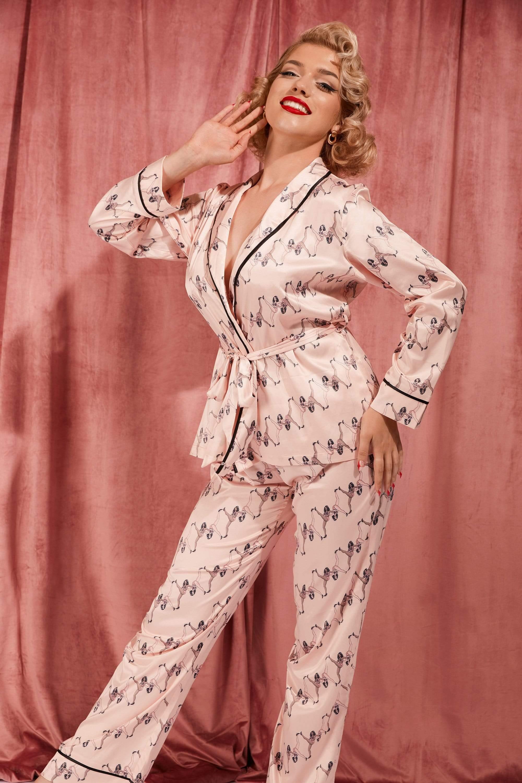 Bettie Page Showgirl Wrap Tie Pyjama Set UK 20 / US 16