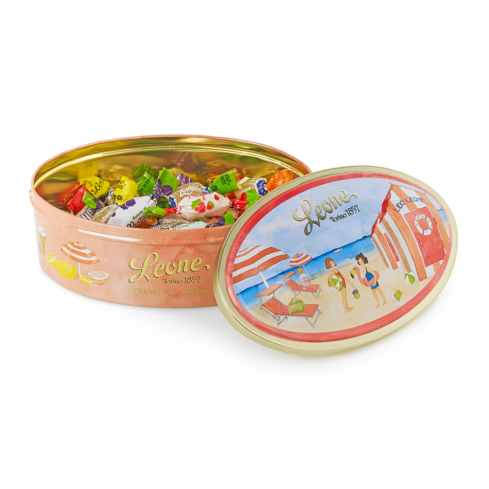 'A Day on the Riviera' Tin of Fruit Sweets and Jellies 100g by Leone