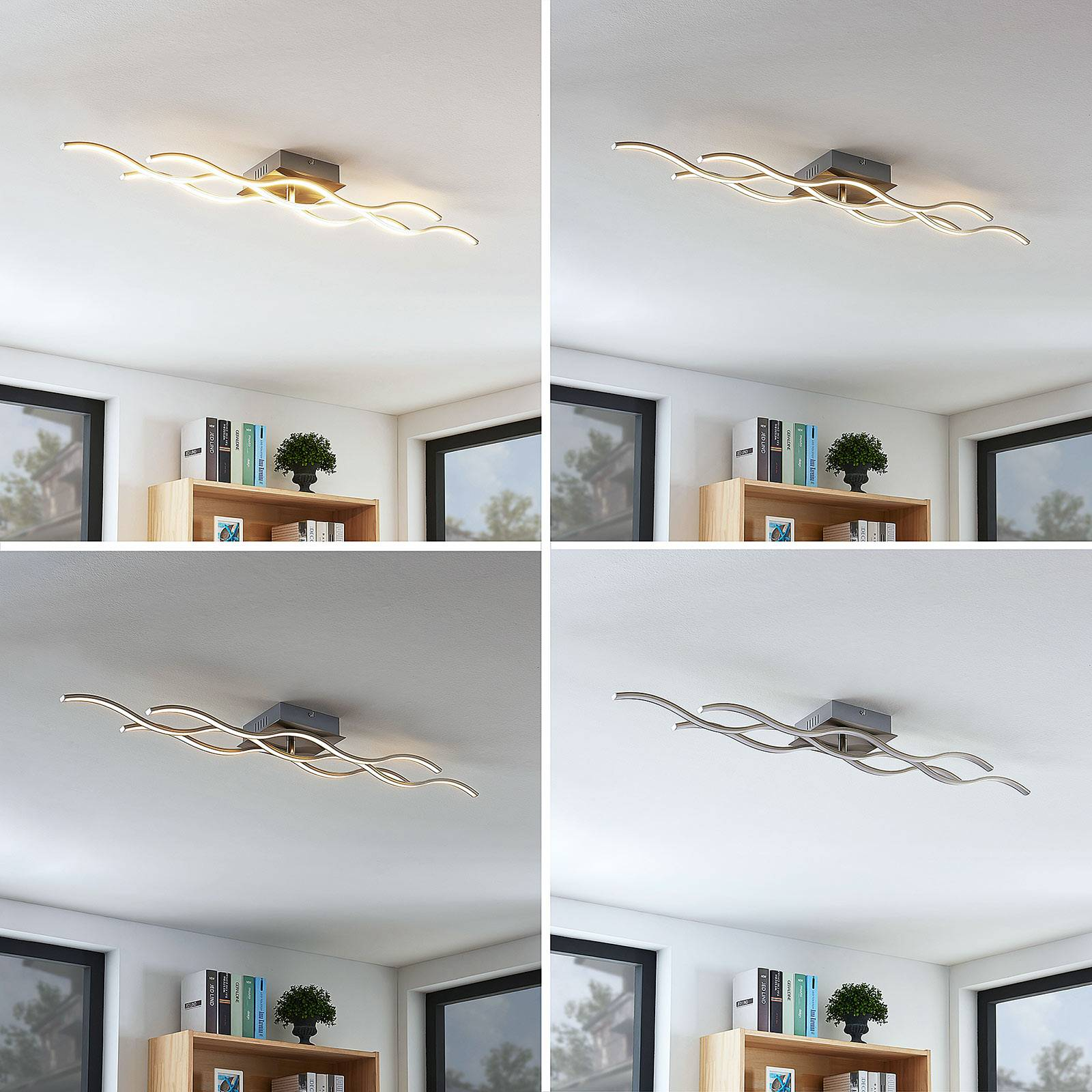 3-lamppuinen LED-kattovalaisin Safia aaltomuotoilu