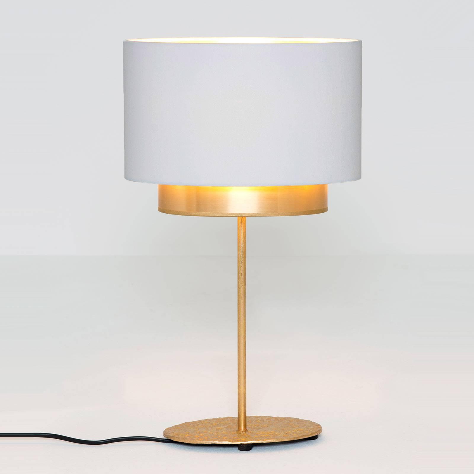Bordlampe Mattia, oval, dobbel, hvit/gull