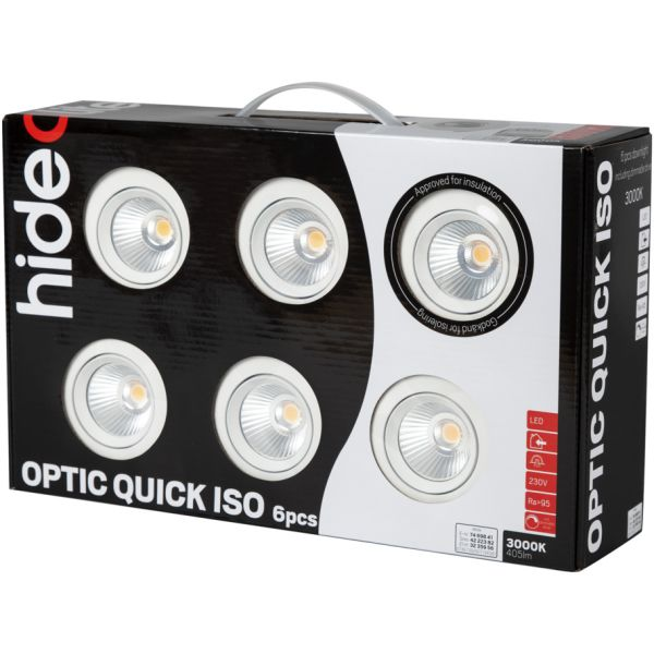 Hide-a-Lite Optic Quick ISO Downlight hvit, 6-pack 3000 K