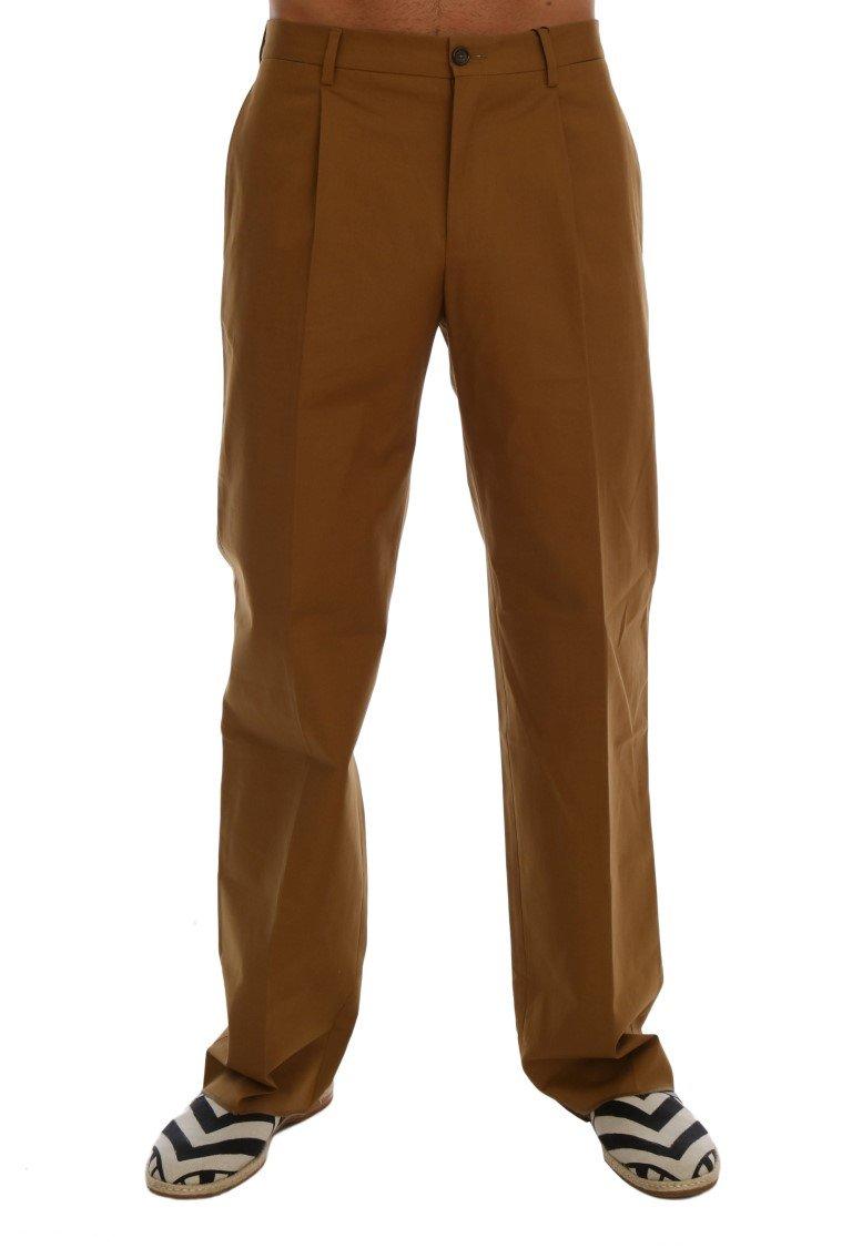 Dolce & Gabbana Men's Stretch Cotton Trouser Brown PAN60763 - IT44 | XS