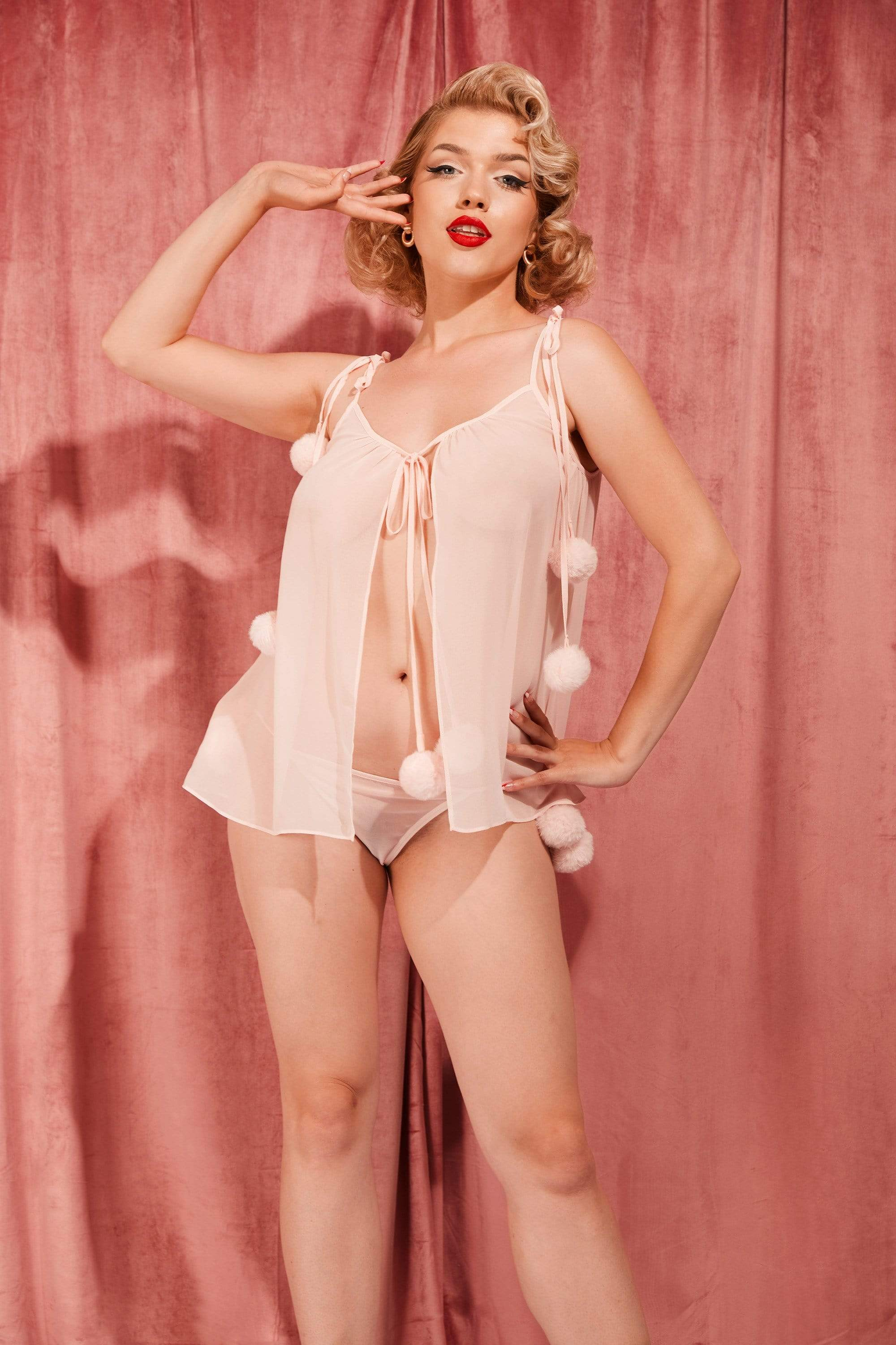 Bettie Page Dolores Pom Pom Chemise Baby Pink UK 10 / US 6