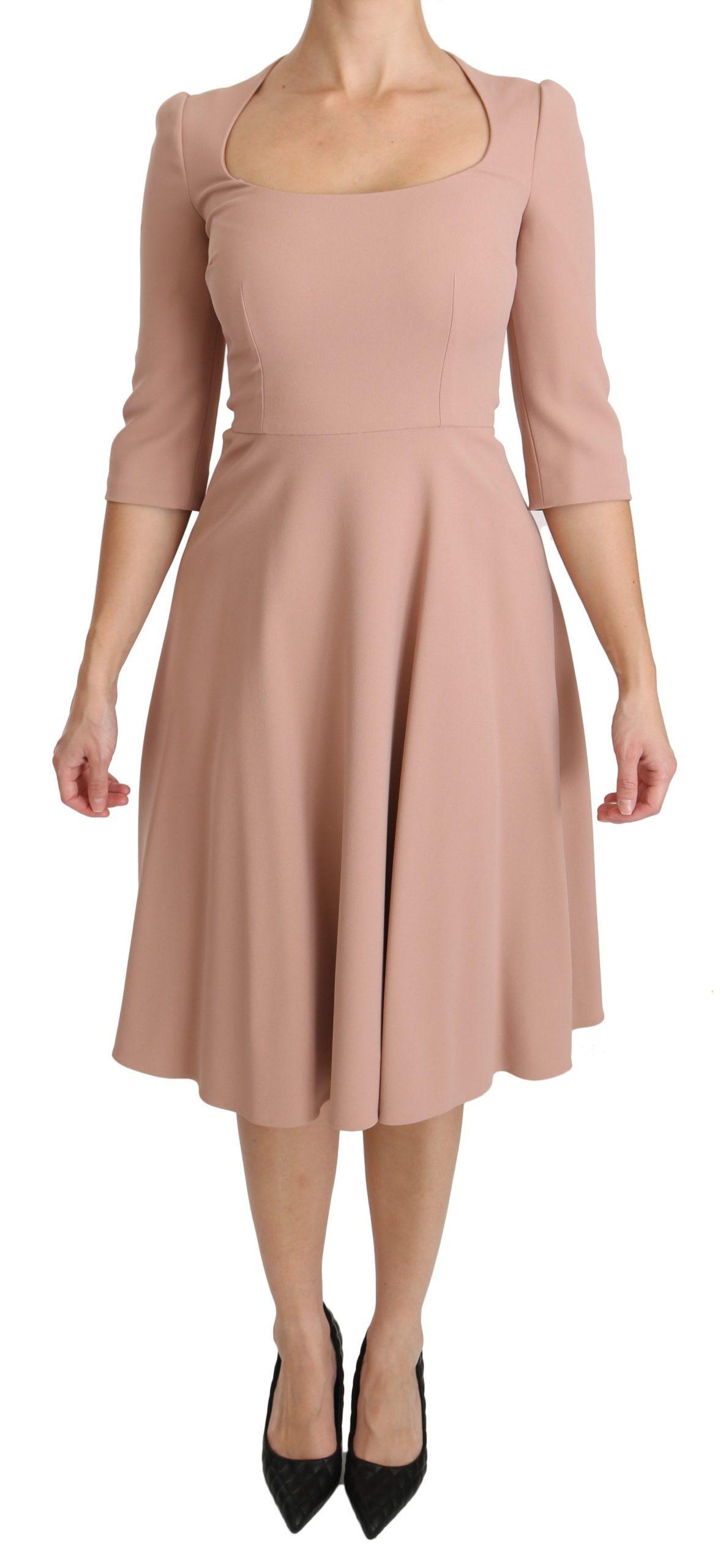 Dolce & Gabbana Women's 3/4 Sleeves A-line Viscose Dress Pink DR2100 - IT38 XS