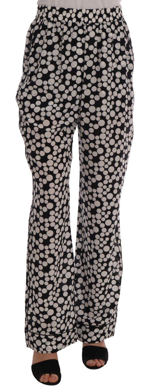 Black White Polka Dottes Silk Pants - IT40|S