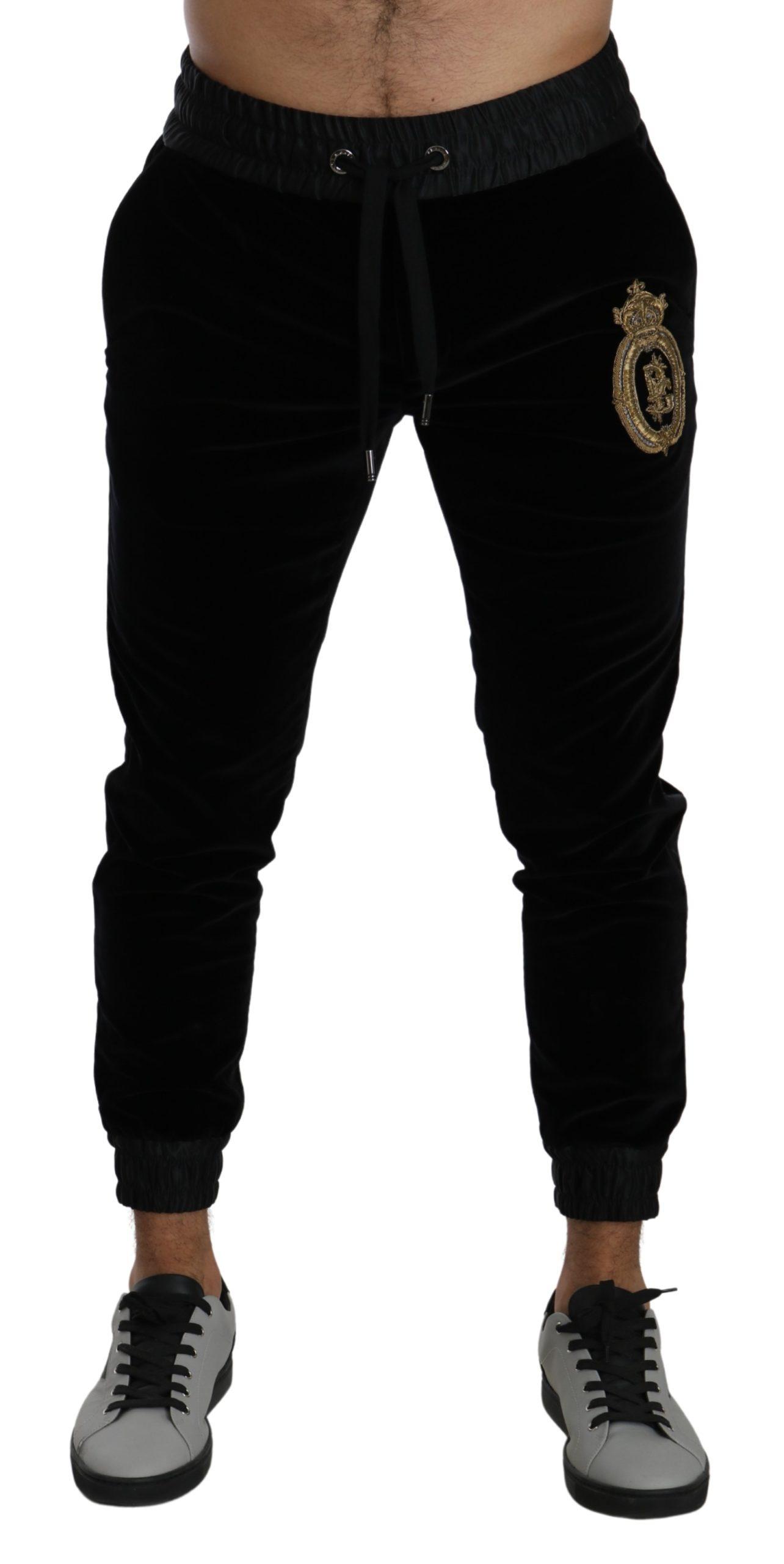 Dolce & Gabbana Men's Logo Jogging Cotton Trouser Black PAN71423 - IT48   M
