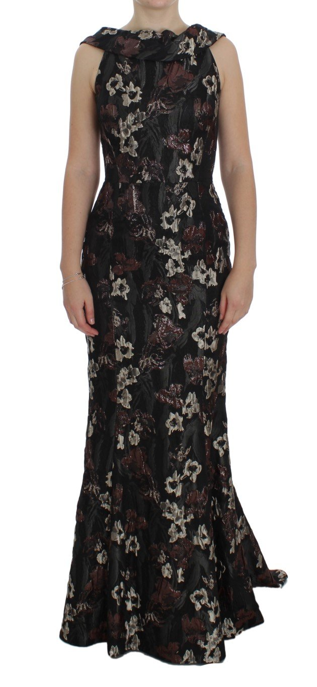 Dolce & Gabbana Women's Floral Jacquard Sheath Gown Dress Black NOC10188 - IT40|S