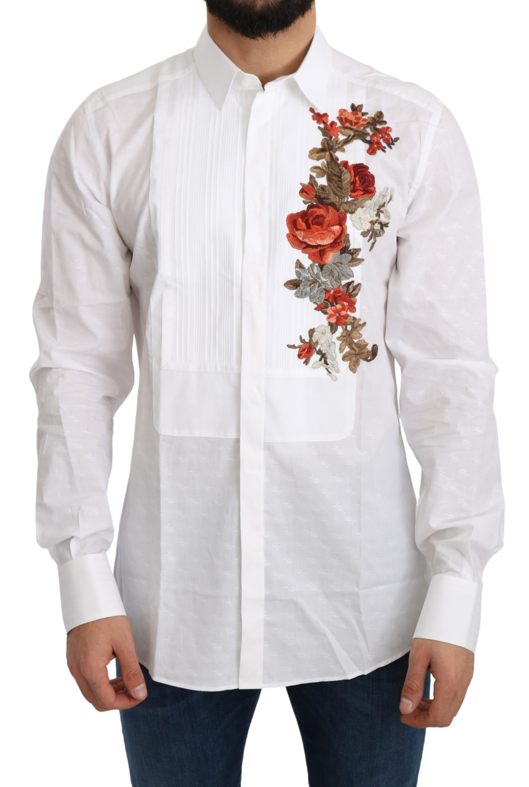 Dolce & Gabbana Men's Cotton GOLD Flowers Top Solid Shirt White TSH5217 - IT38   XS