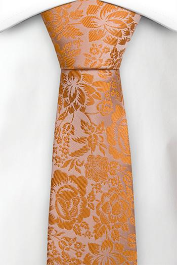Silke Smale Slips, Orange og champagne blomster, Oransje, Blomstrete
