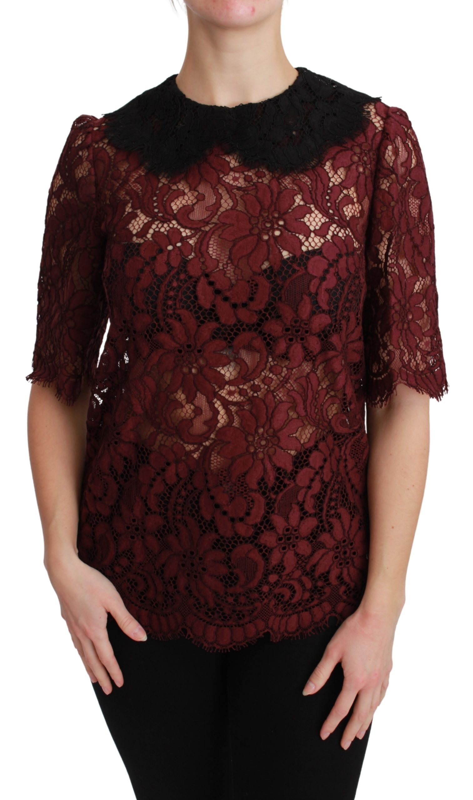Dolce & Gabbana Women's Short Sleeve Top Maroon BGTSH2679 - IT42|M