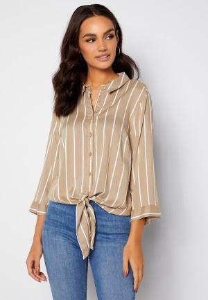 Happy Holly Juliette ss knot shirt Beige / Offwhite 44/46