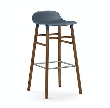 Form Barstol Blå/Valnøtt 75 cm