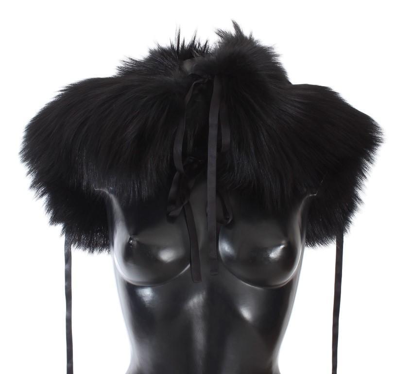 Dolce & Gabbana Women's Fox Fur Wrap Collar Scarf Black MS1580 - L