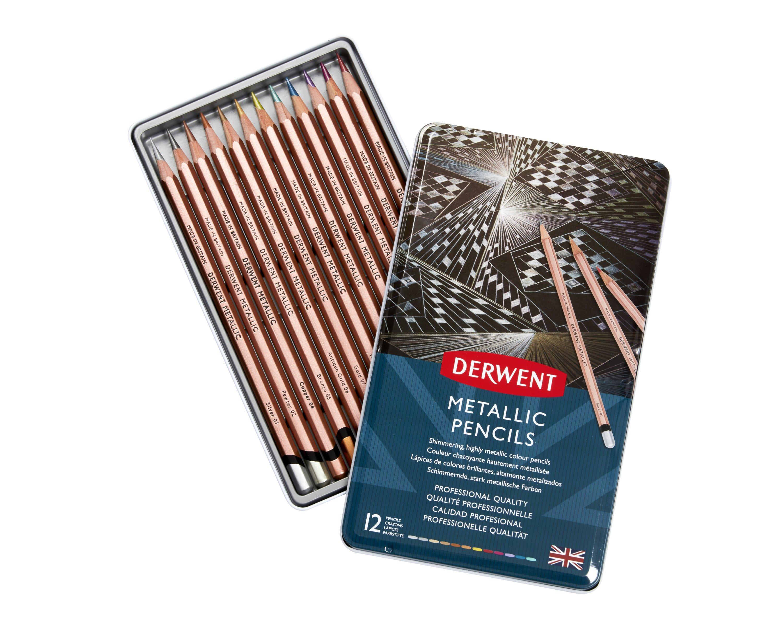 Derwent - Metallic Pencils, 12 Tin