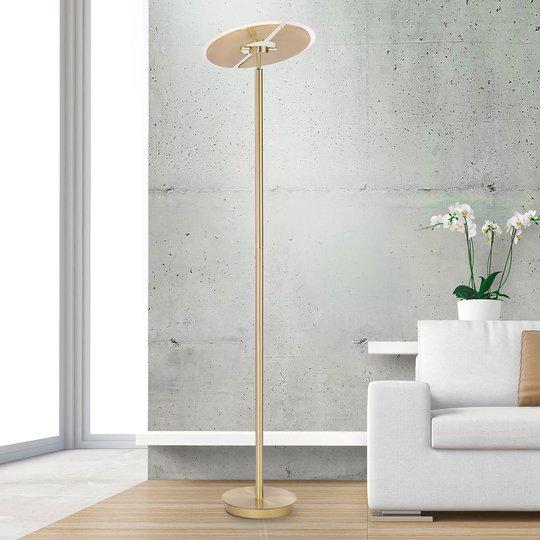 LED-gulvlampe Artur, CCT, dimbar, rund, gull