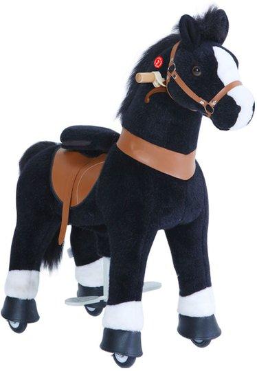 PonyCycle Ride-On Hest Stor Med Broms, Svart/Hvit