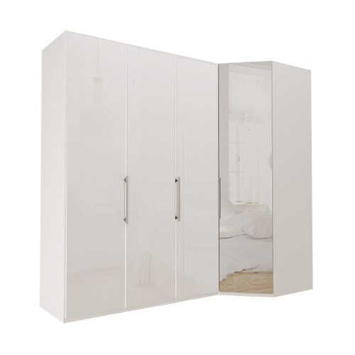 Garderobe Atlanta - Hvit 150 cm, 236 cm, Hvitt glass