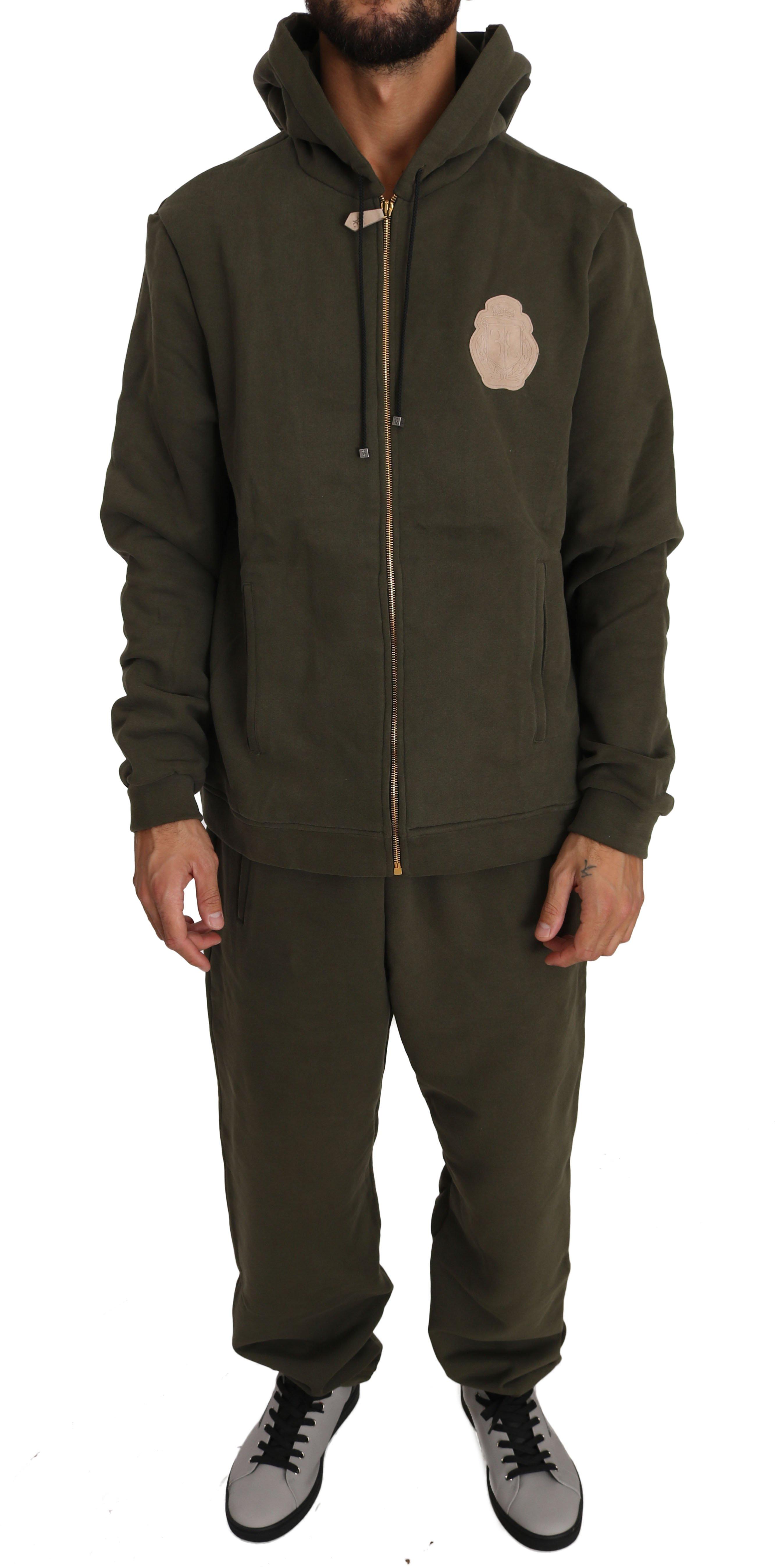 Billionaire Italian Couture Men's Hooded Full Zip Sweater Green BIL1051 - XXL