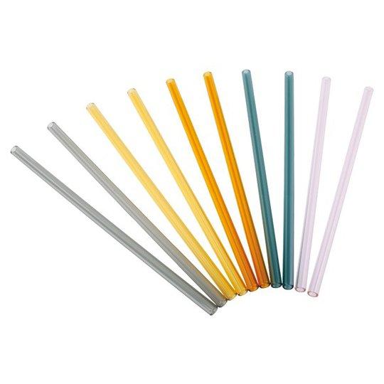 Redecker Rakt Sugrör Glas i Blandade färger - 21 cm, 10-pack