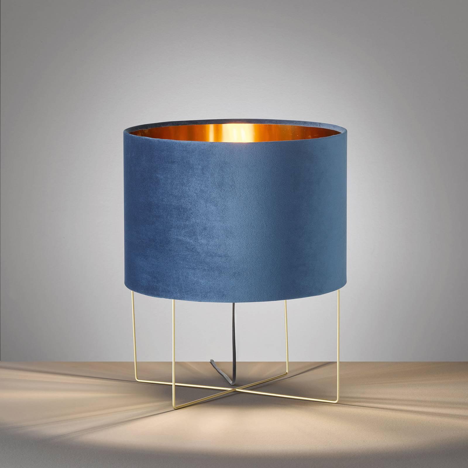 Bordlampe Aura, fløyelsskjerm, høyde 43 cm, blå