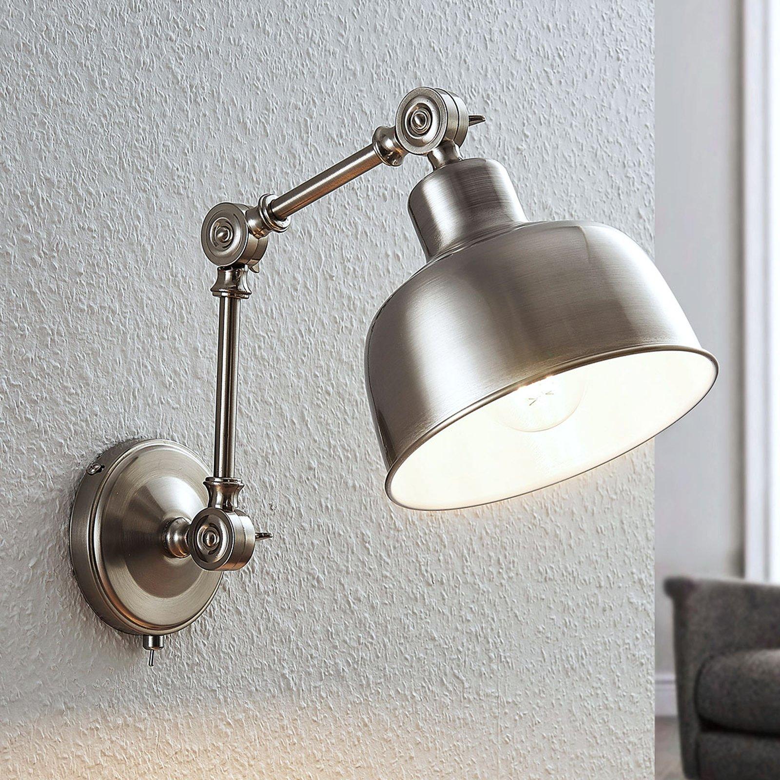 Vegglampe Rosita, nikkel satinert, justerbar