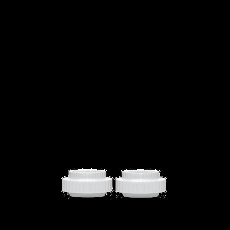 Telysholder Porselen Hvit Ø6,5 cm 2-pakning
