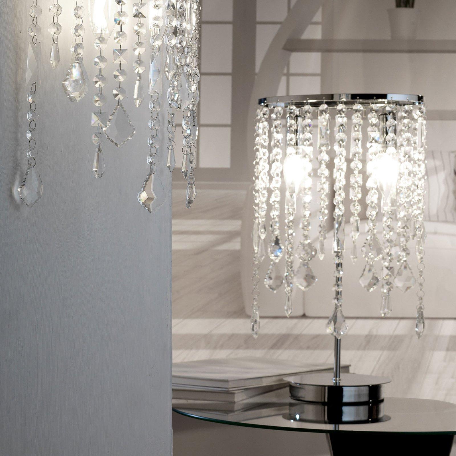 Bordlampe Laila med krystallforheng 2 lyskilder
