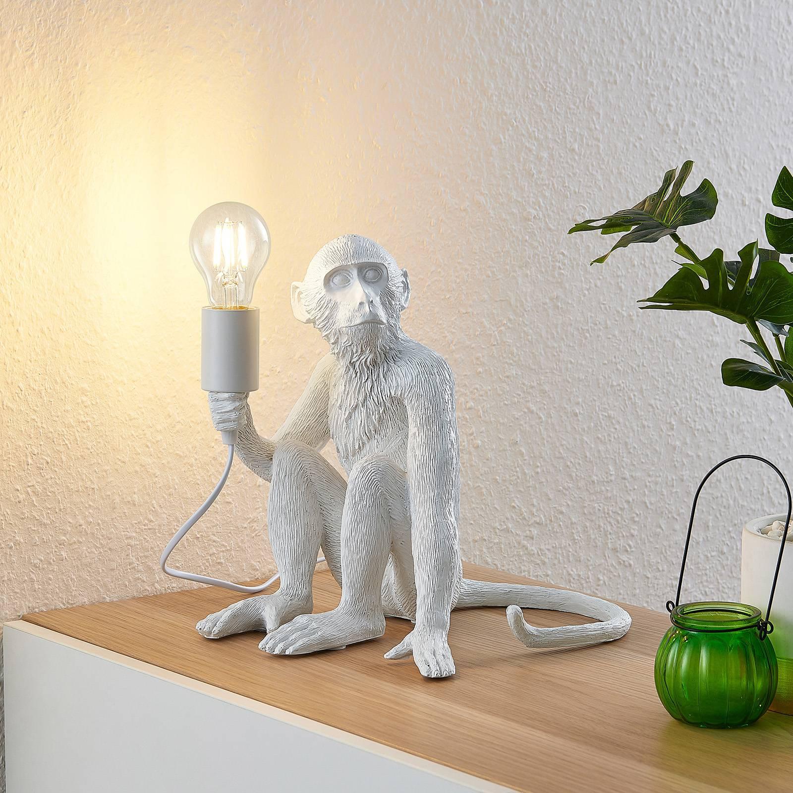 Lindby Monki -pöytävalaisin, apina, valkoinen