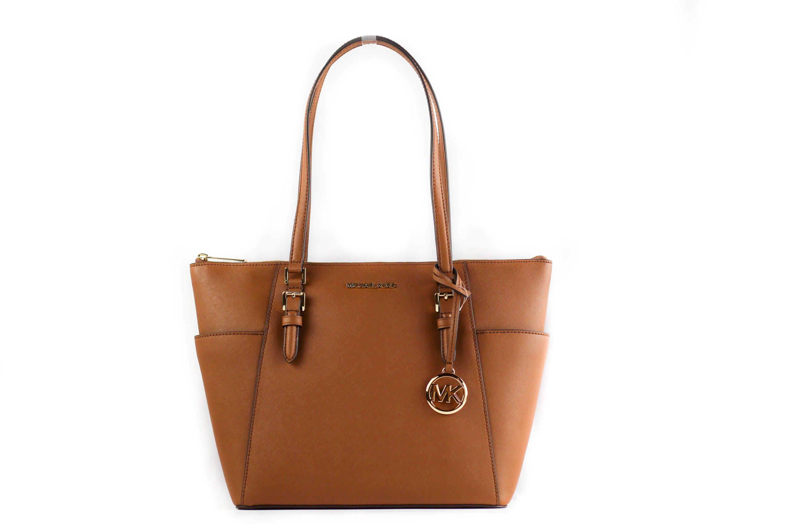 Charlotte Signature Leather Large Top Zip Tote Handbag Bag
