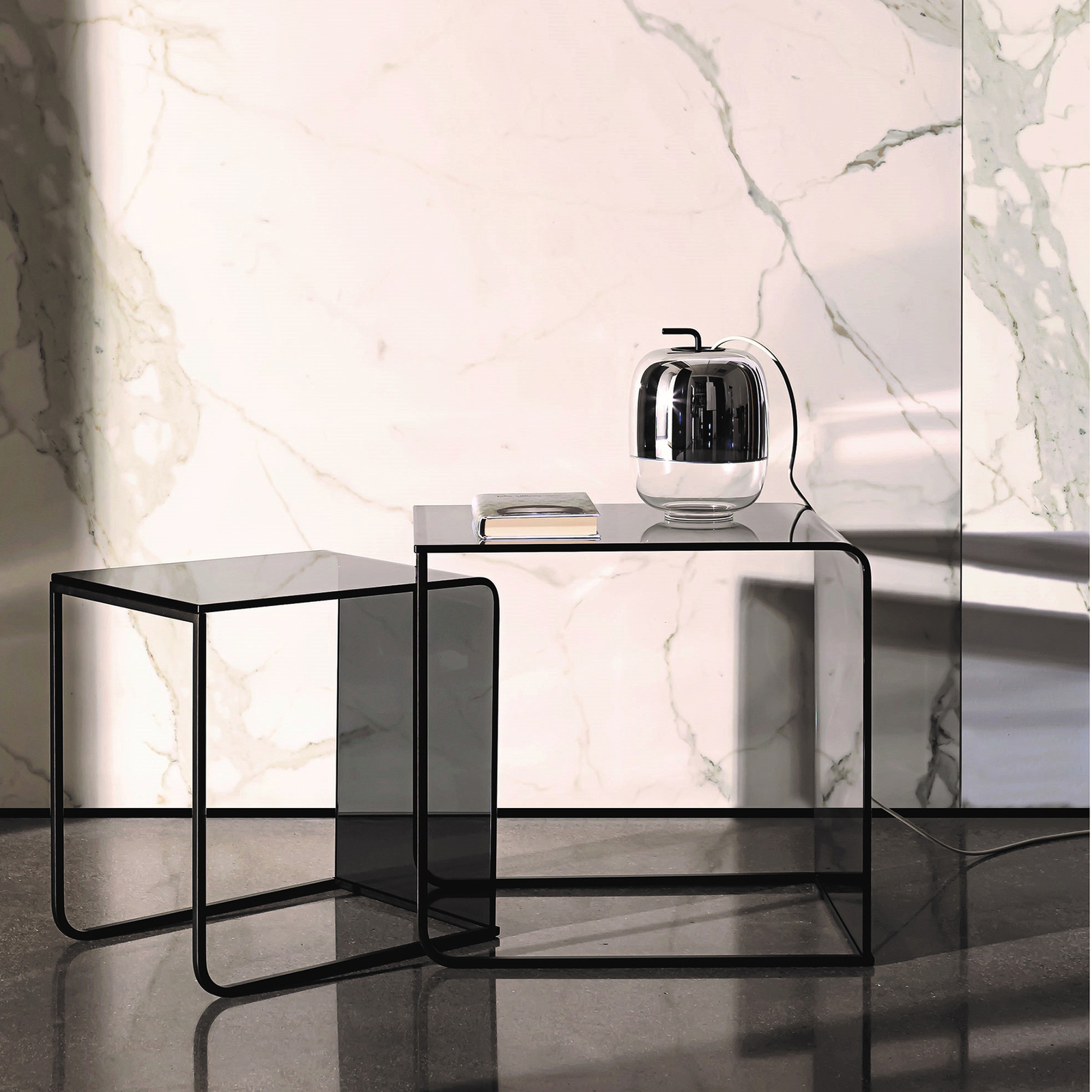 Prandina Gong T1 pöytävalaisin, peili metalloitu