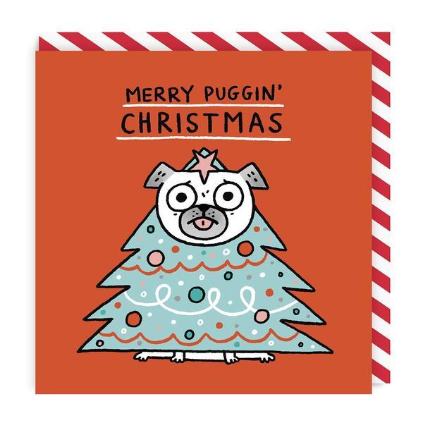 Merry Puggin' Christmas Tree Square Christmas Card