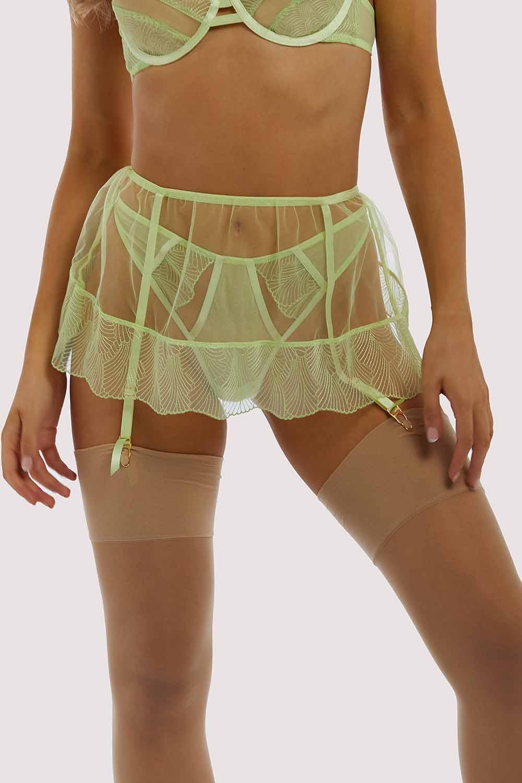 Wolf & Whistle Taha Green suspender skirt UK 10 / US 6