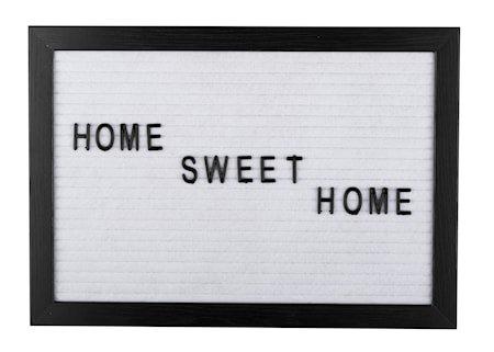 Bokstavtavle svart ramme hvit filt 21 x 30,1 x 1,8 cm