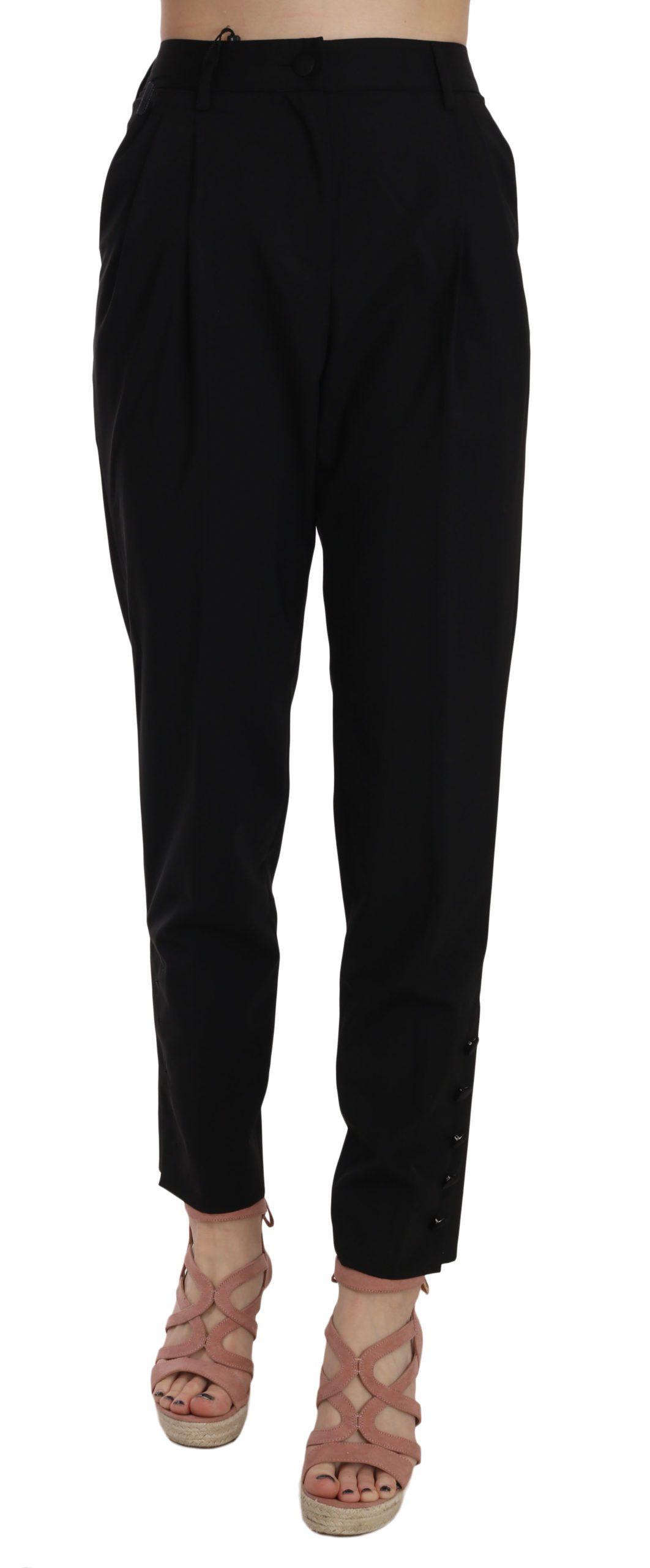 Dolce & Gabbana Women's Button Pleated Tapered Trouser Black PAN70033 - IT36 XXS