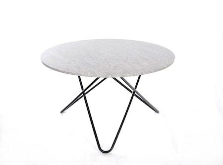 Big O Spisebord Svart/Matt Hvit Marmor Ø120