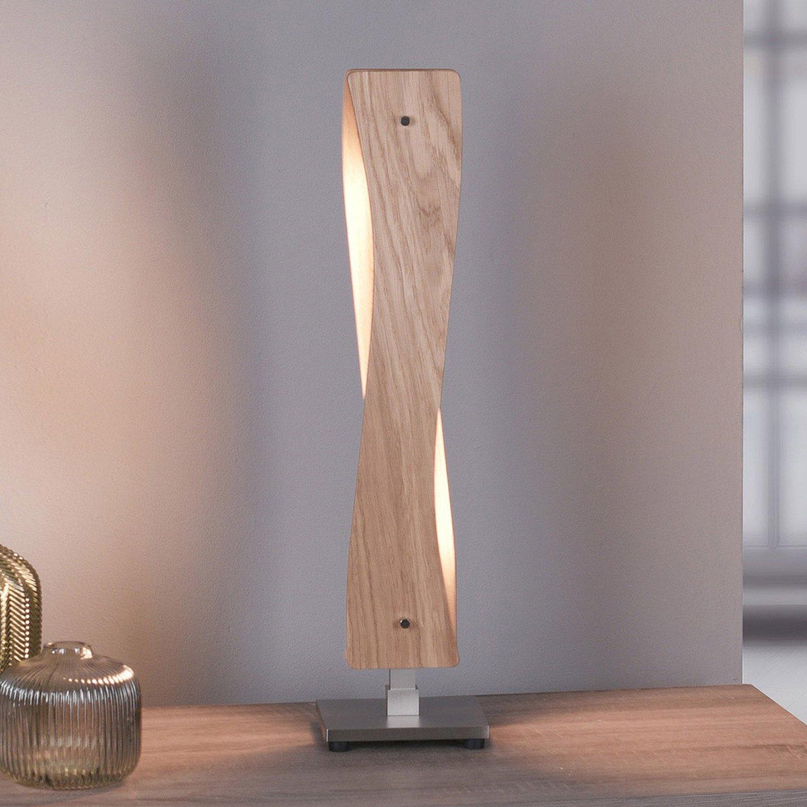 Lucande Lian LED-bordlampe, eiketre