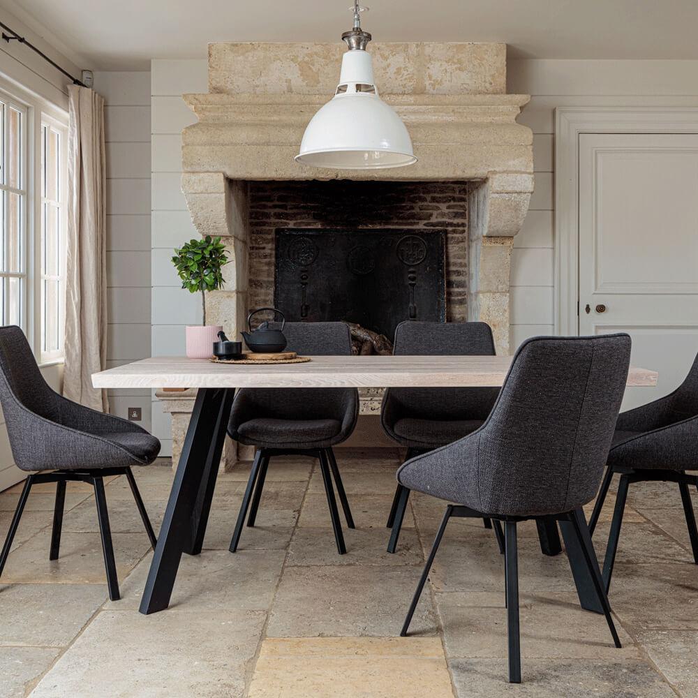 Valencia Solid Oak Dining Set – Natural Oak, with Gaudi Chairs – Dark Grey