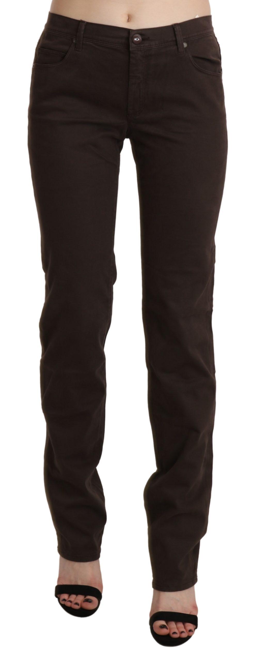 Brown Mid Waist Skinny Slim Trouser Cotton Jeans - W32