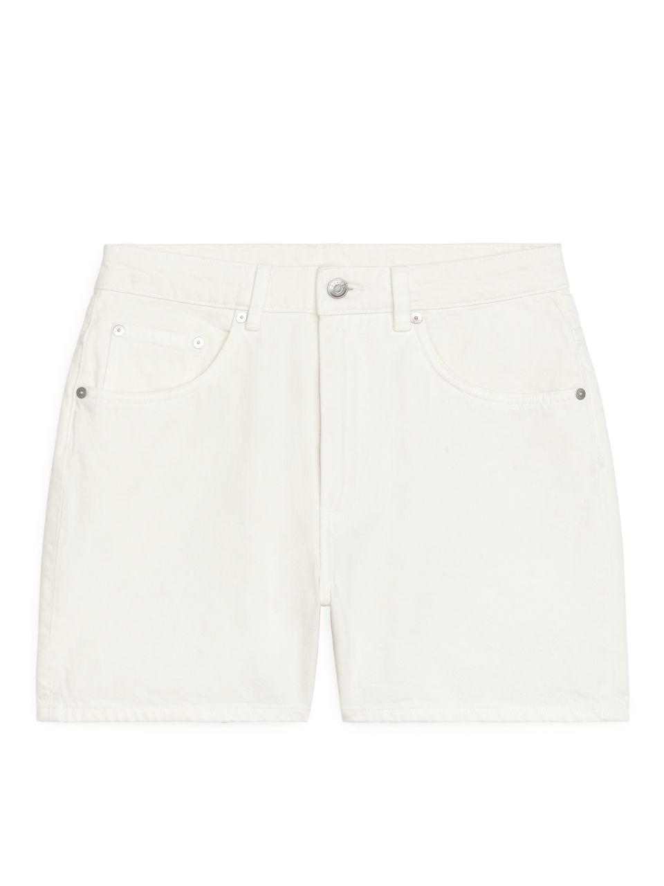 Denim Overdye Shorts - White