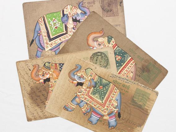 Hand-painted Vintage Indian Postcard - Elegant Elephants