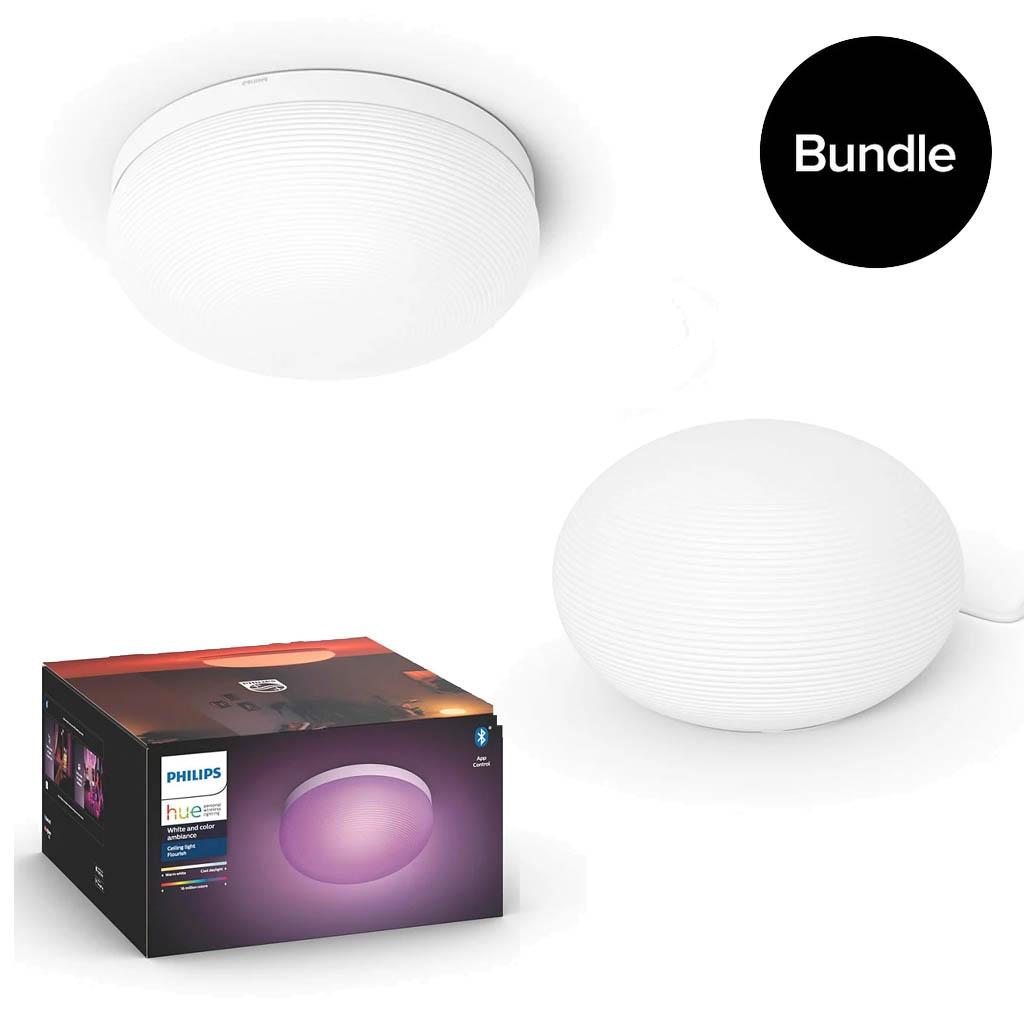 Philips Hue - Flourish Ceiling Light & Flourish Table Light - Bundle